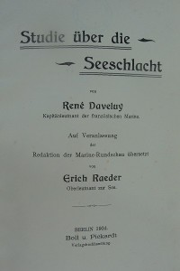 """Titelseite von Daveluys """"Studie über die Seeschlacht"""" (1904)"""
