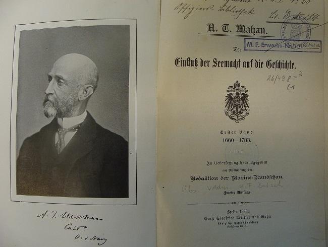 """Titelseite von Mahans Werk """"Der Einfluß der Seemacht..."""" (1898)"""